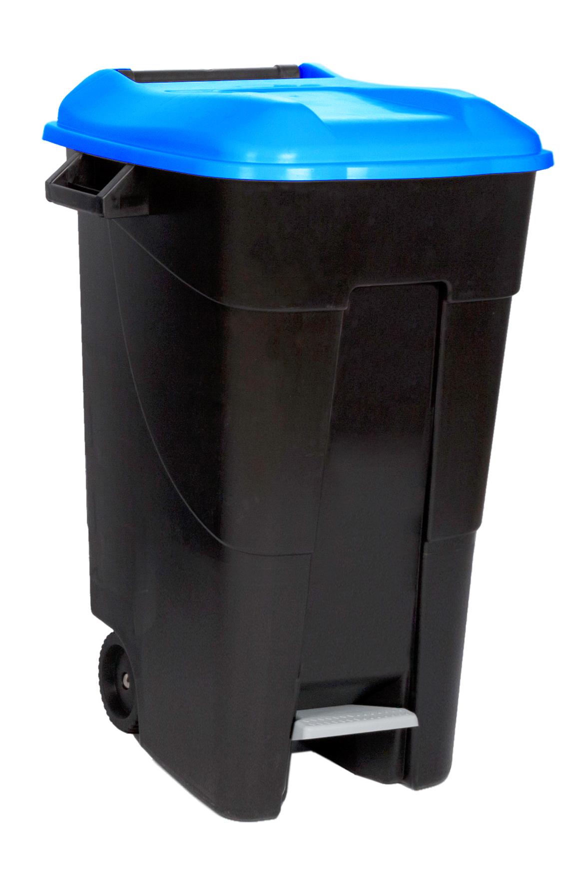 Poubelles Noires De Jardin conteneur à déchets 2 roues 120 l avec pédale
